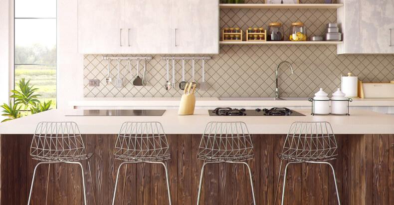 Hokery w kuchni połączonej z salonem