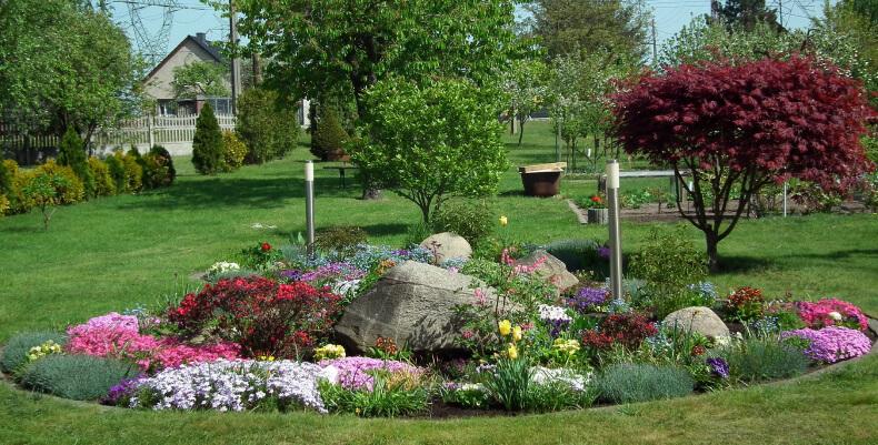 Rabata z kwiatami - trawniki przed domem
