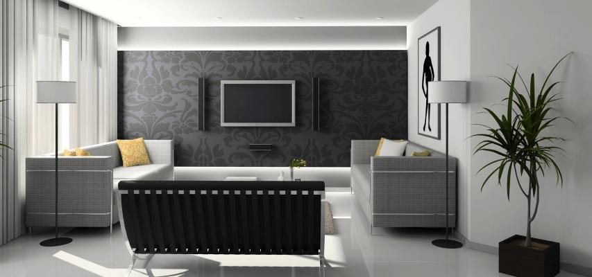Dekoracja ściany z telewizorem - tapeta